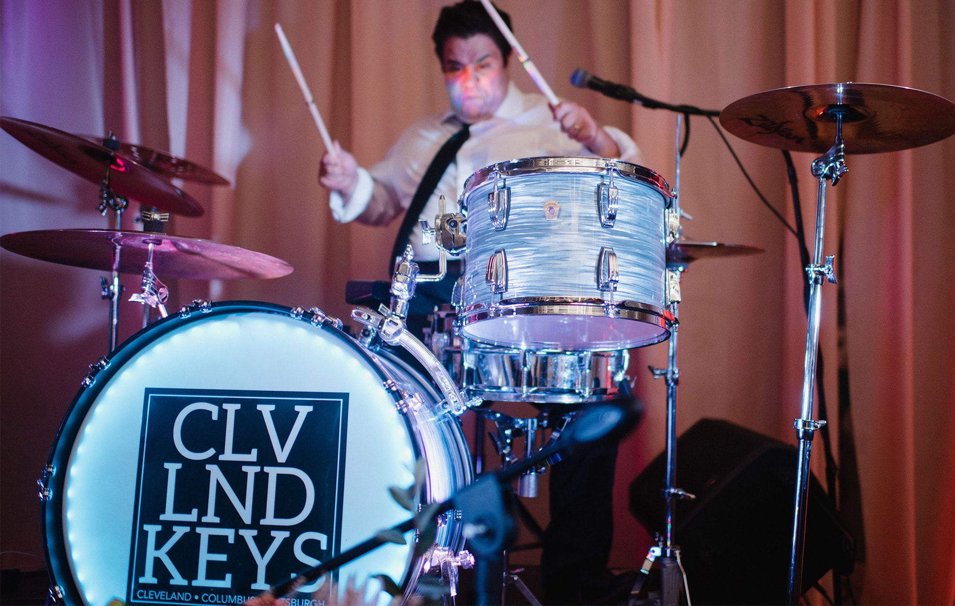 cleveland keys drummer performing at wedding