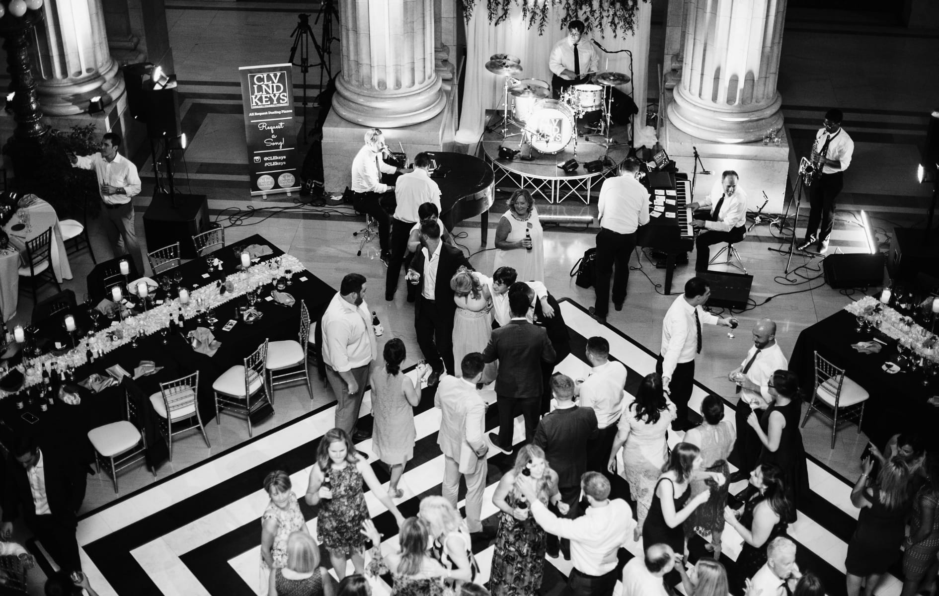 aerial view of the dance floor with multiple people dancing